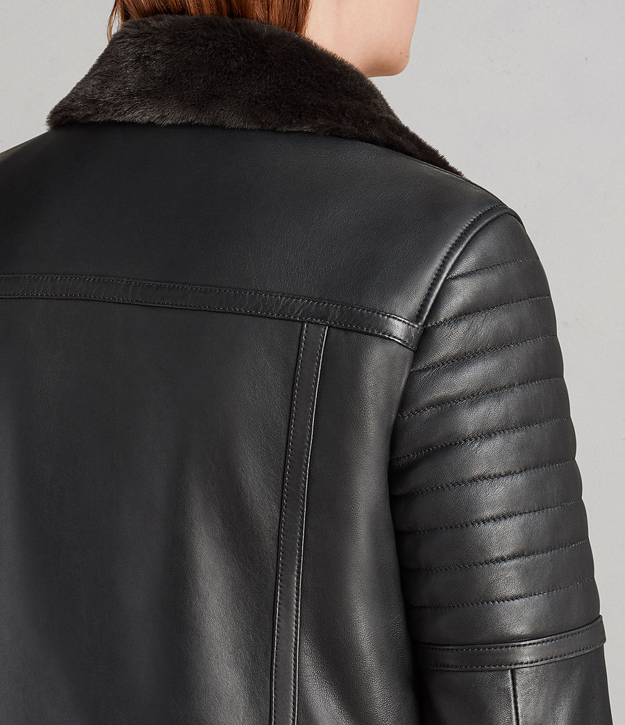 Women's Perkins Lux Leather Biker Jacket (black_magma_grey) - Image 7