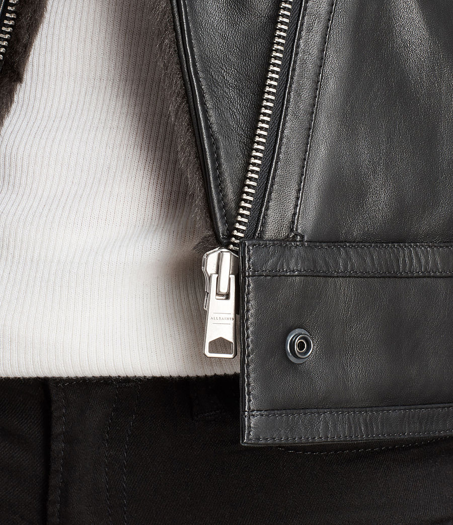 Women's Perkins Lux Leather Biker Jacket (black_magma_grey) - Image 8