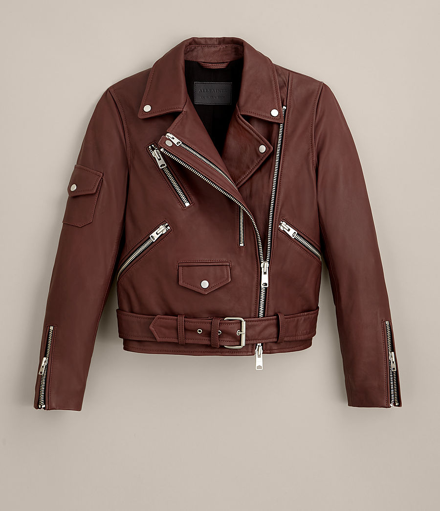 Womens Harland Leather Biker Jacket (bordeaux_red) - Image 10