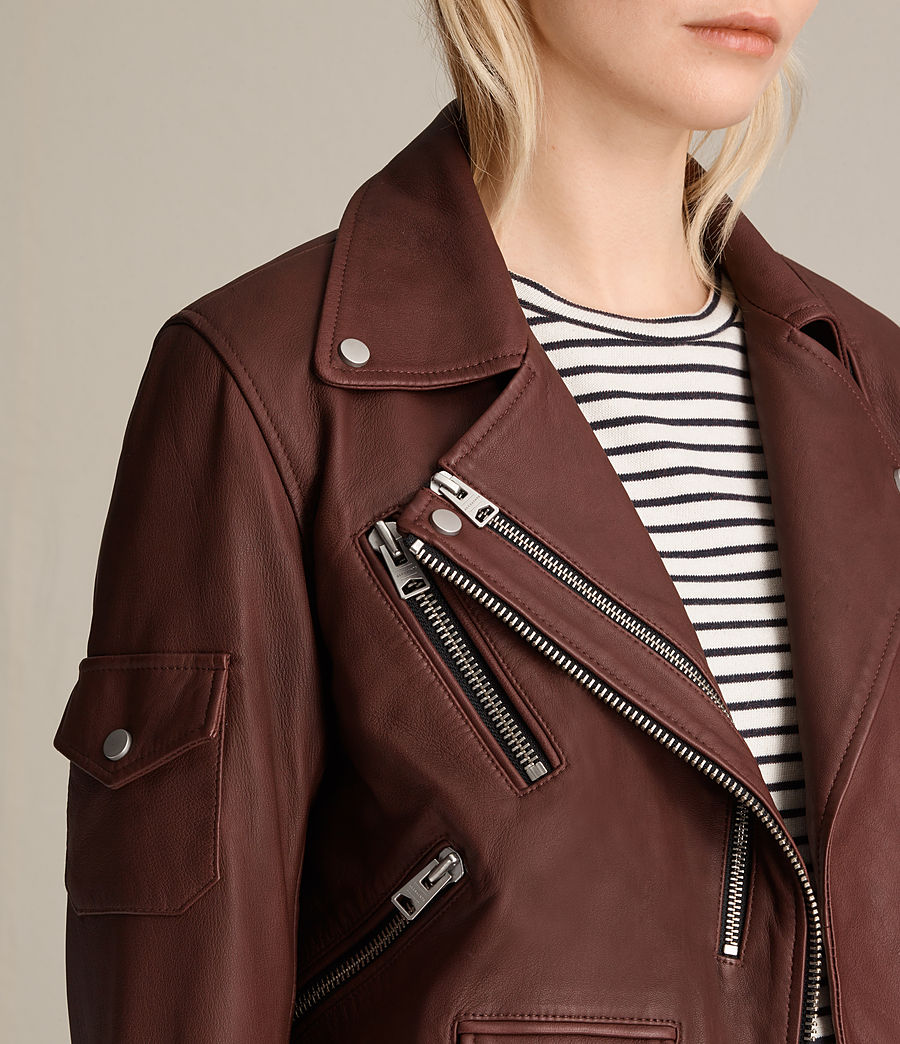 Womens Harland Leather Biker Jacket (bordeaux_red) - Image 2