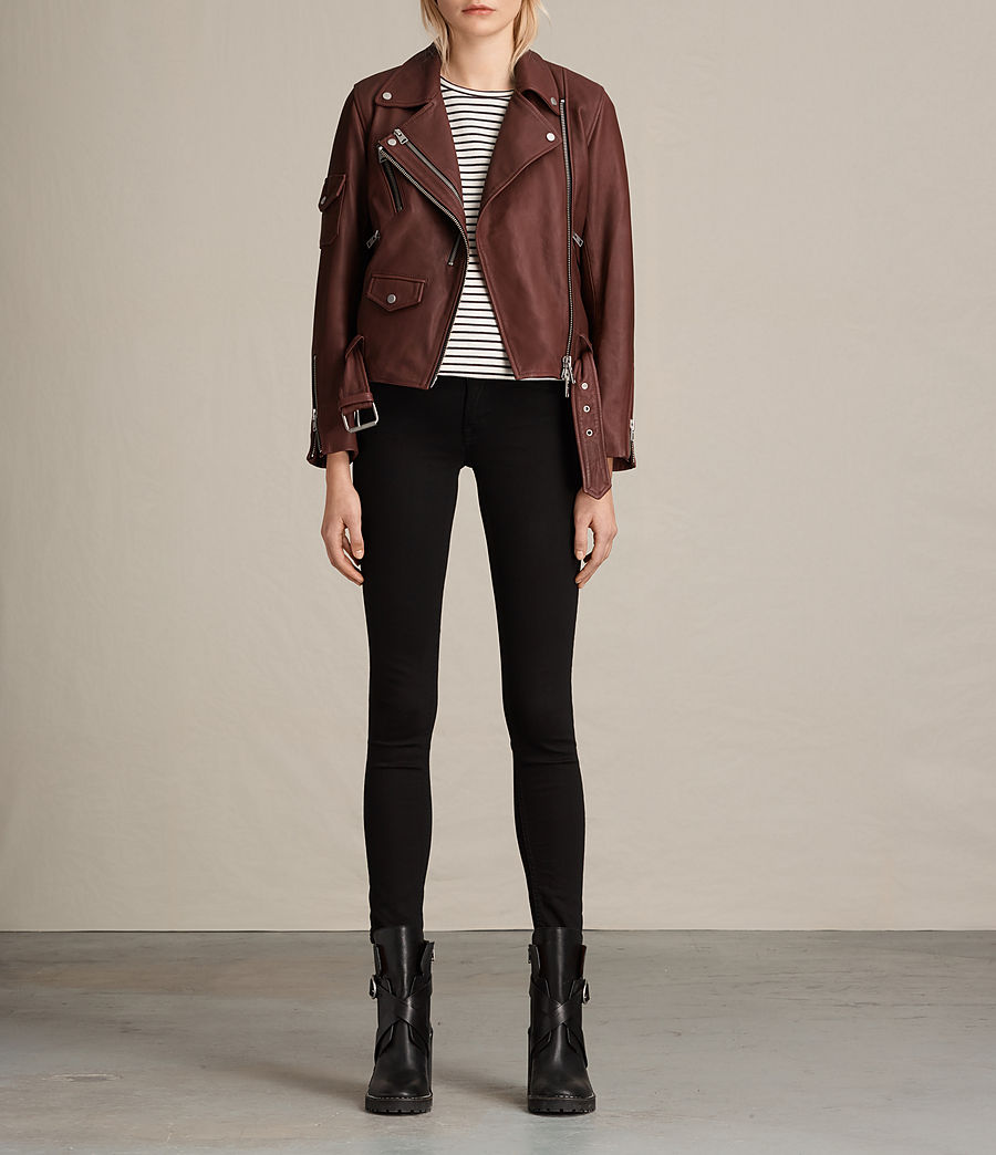 Womens Harland Leather Biker Jacket (bordeaux_red) - Image 3