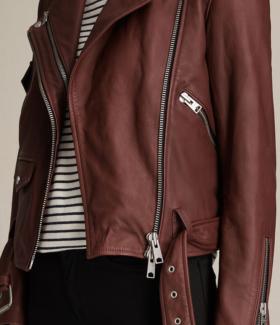Womens Harland Leather Biker Jacket (bordeaux_red) - Image 4