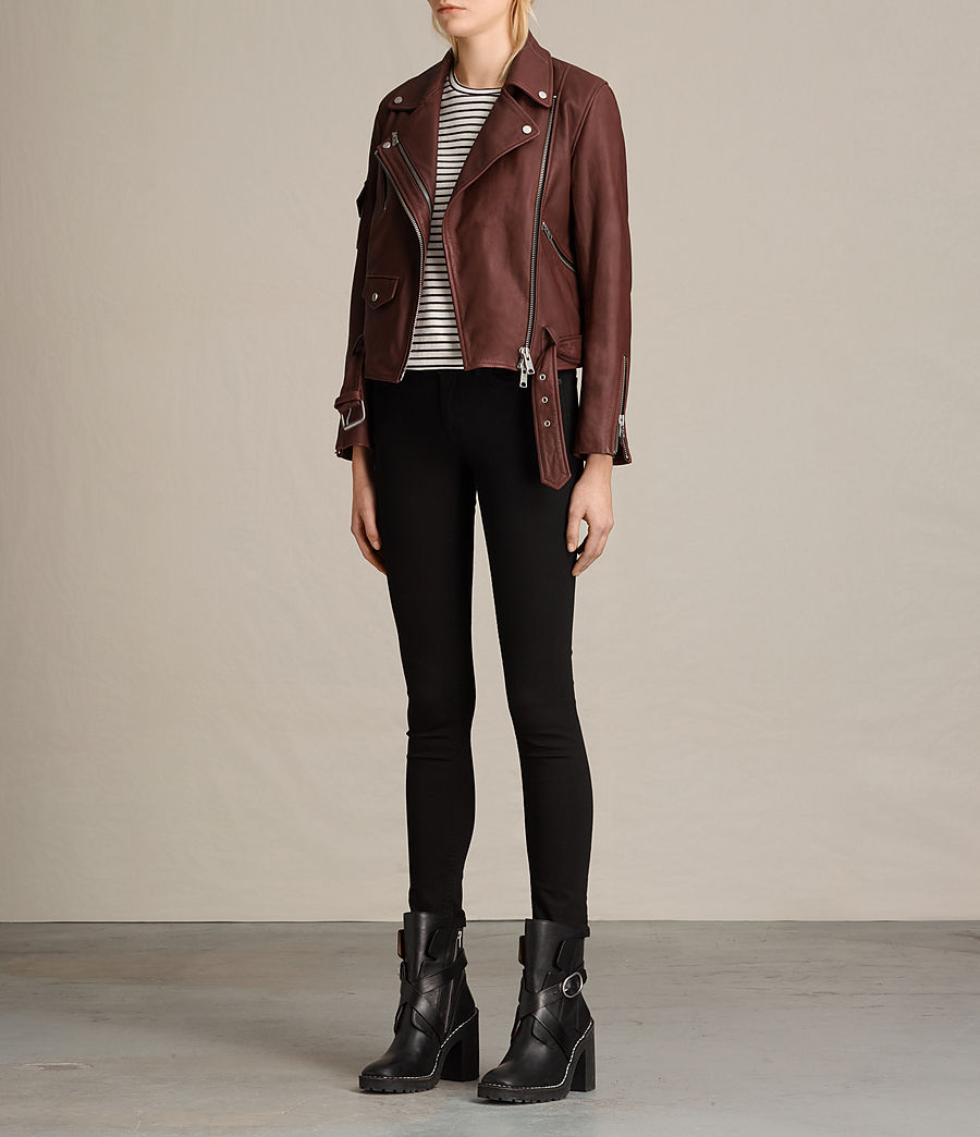 Womens Harland Leather Biker Jacket (bordeaux_red) - Image 5