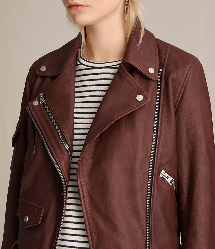 Womens Harland Leather Biker Jacket (bordeaux_red) - Image 6