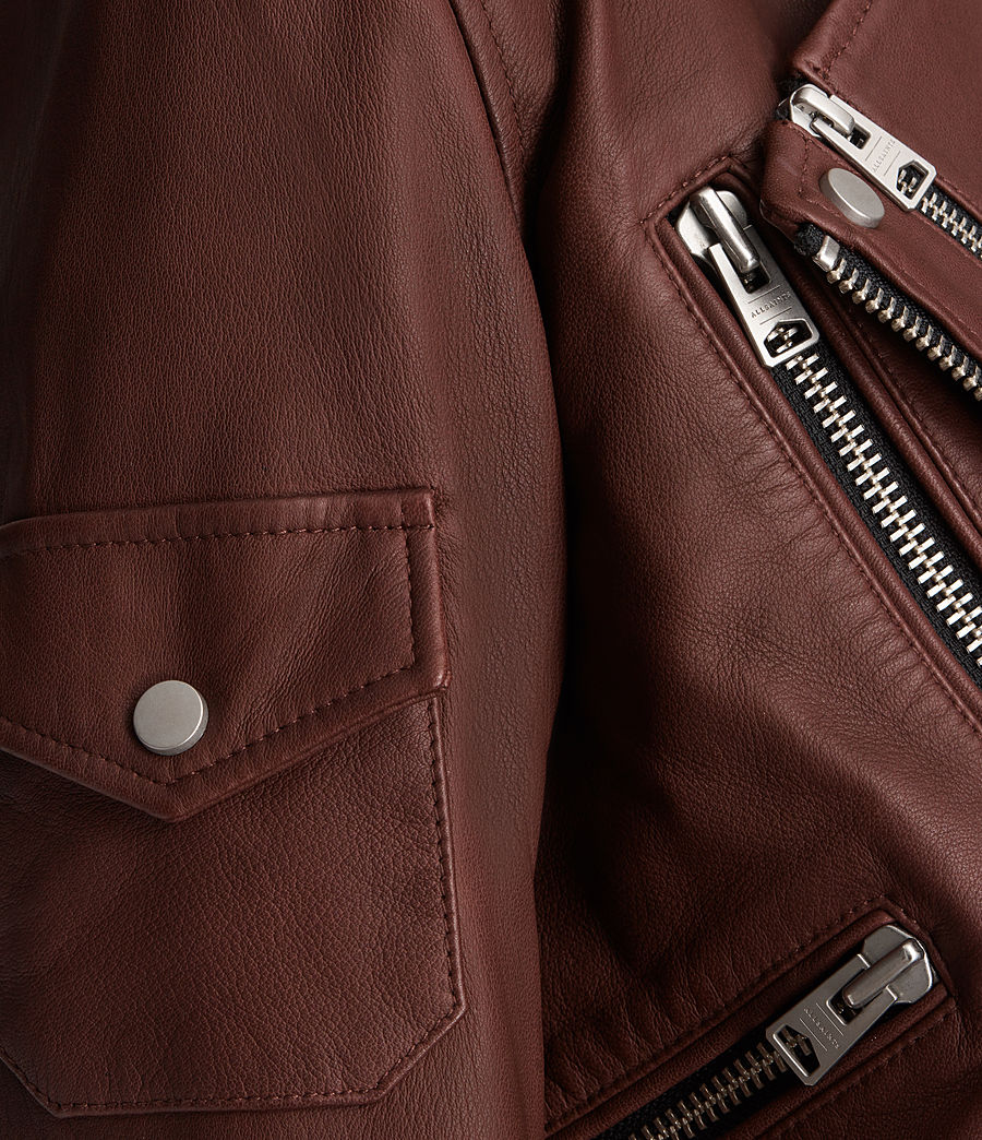 Womens Harland Leather Biker Jacket (bordeaux_red) - Image 7