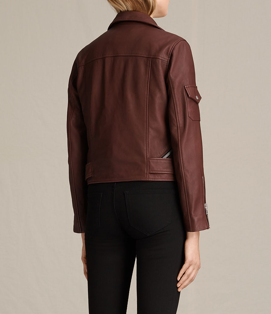 Womens Harland Leather Biker Jacket (bordeaux_red) - Image 9