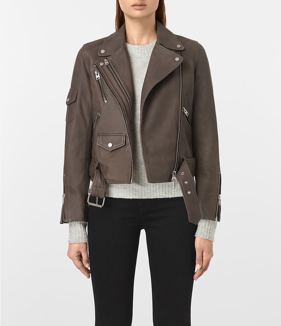 Womens Harland Leather Biker Jacket (grey) - Image 1