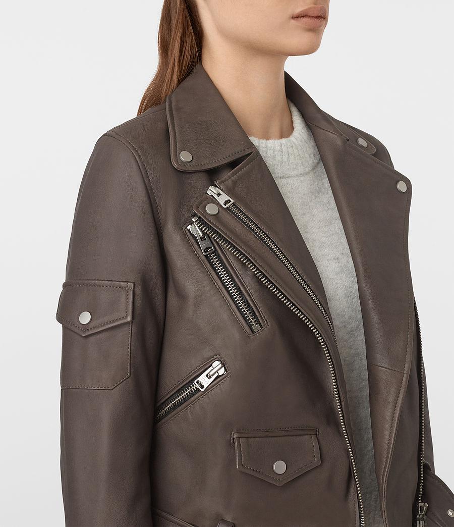 Womens Harland Leather Biker Jacket (grey) - Image 4