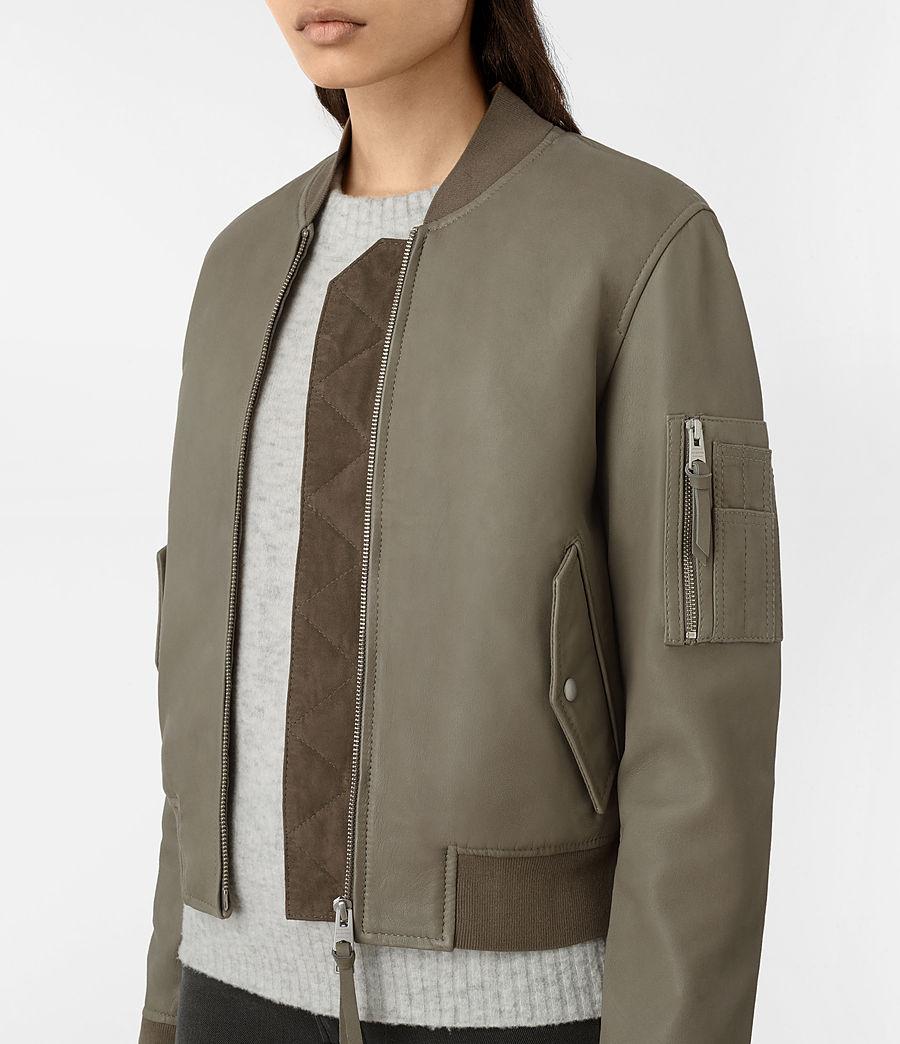Womens Avalon Leather Bomber Jacket (pistachio_green) - Image 3