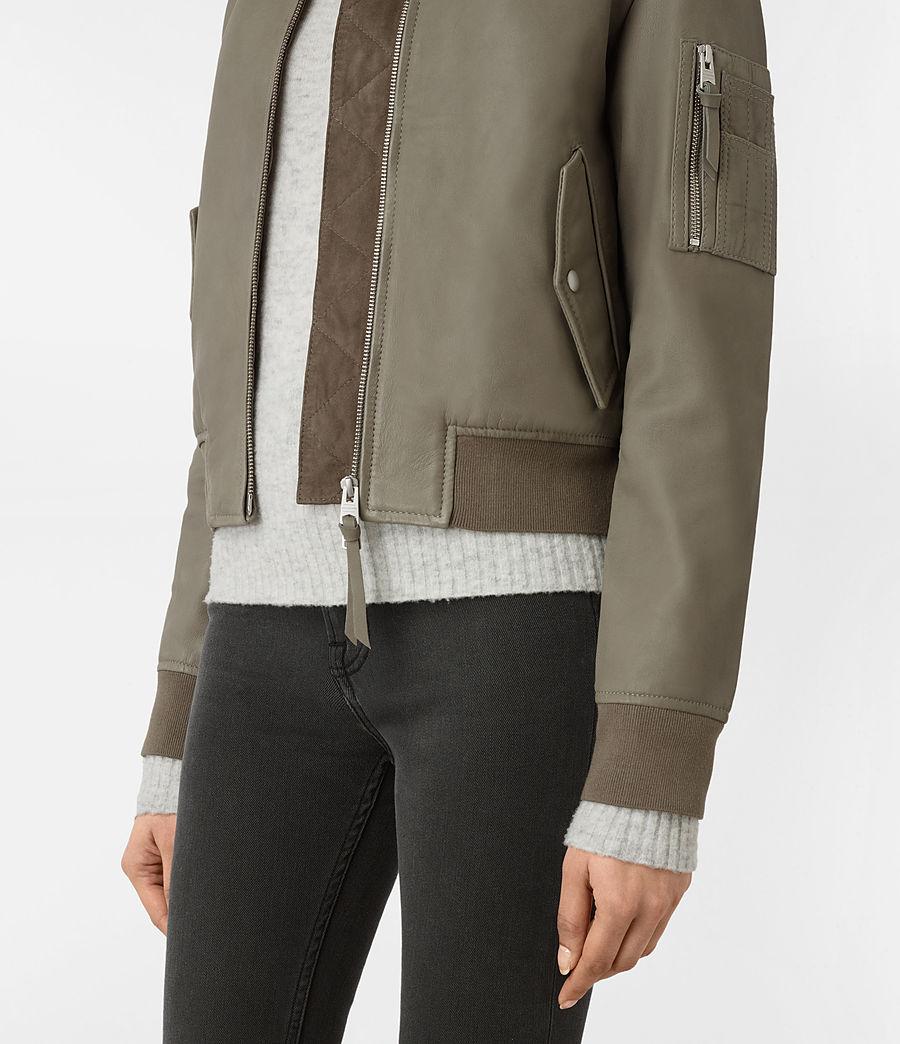 Womens Avalon Leather Bomber Jacket (pistachio_green) - Image 4