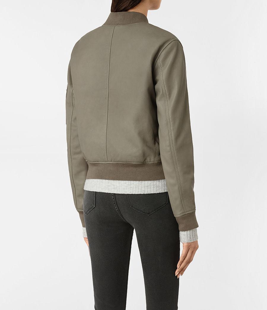 Womens Avalon Leather Bomber Jacket (pistachio_green) - Image 5