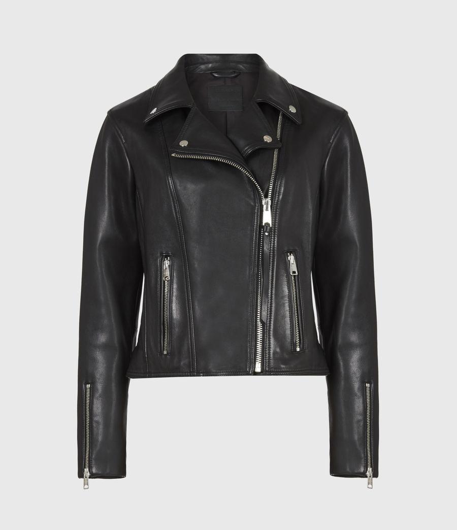 Women's Neve Leather Biker Jacket (black) - Image 2