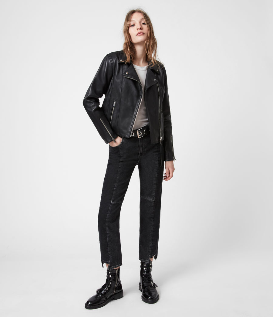 Women's Neve Leather Biker Jacket (black) - Image 4