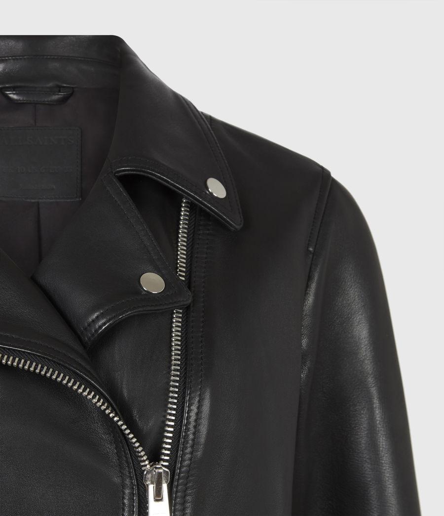 Women's Neve Leather Biker Jacket (black) - Image 5