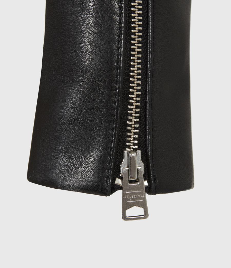 Women's Neve Leather Biker Jacket (black) - Image 6