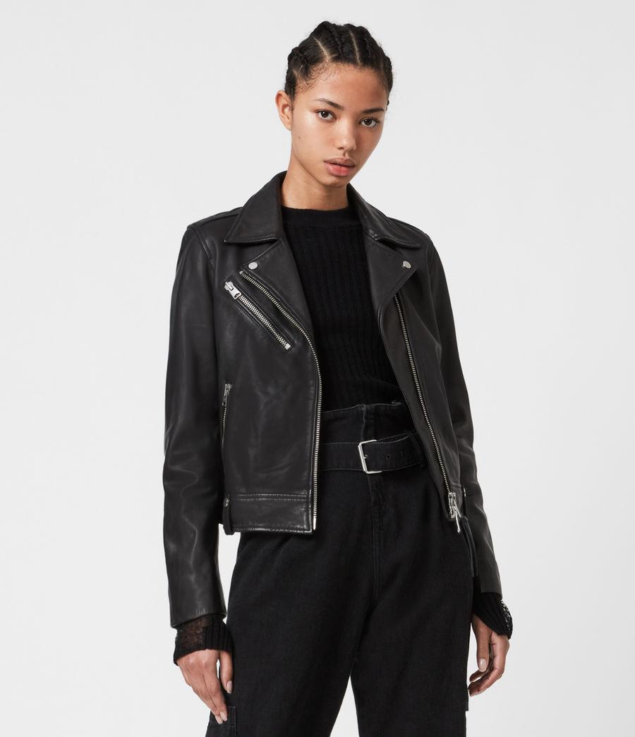 Women's Drury Leather Biker Jacket (black) - Image 1