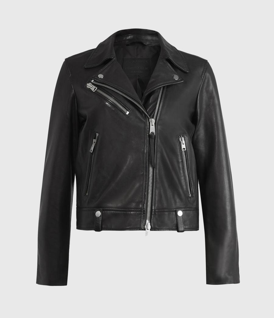 Women's Drury Leather Biker Jacket (black) - Image 2