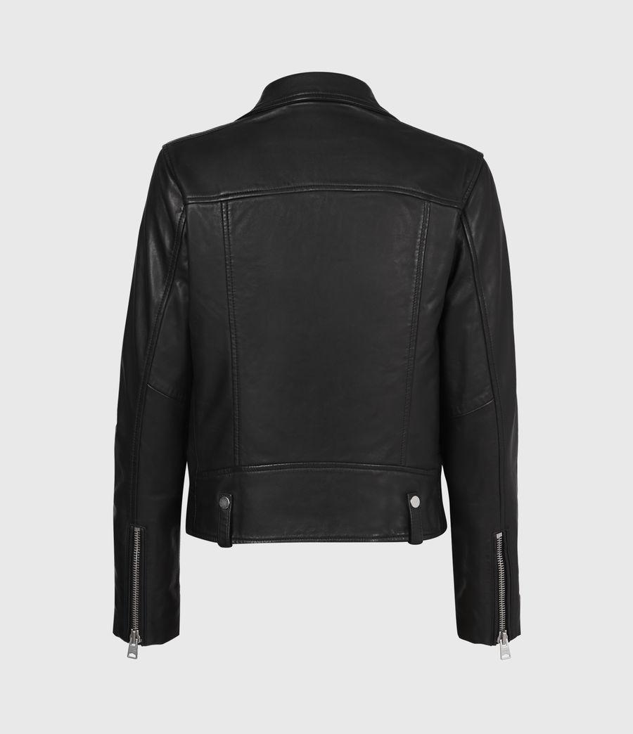 Women's Drury Leather Biker Jacket (black) - Image 3