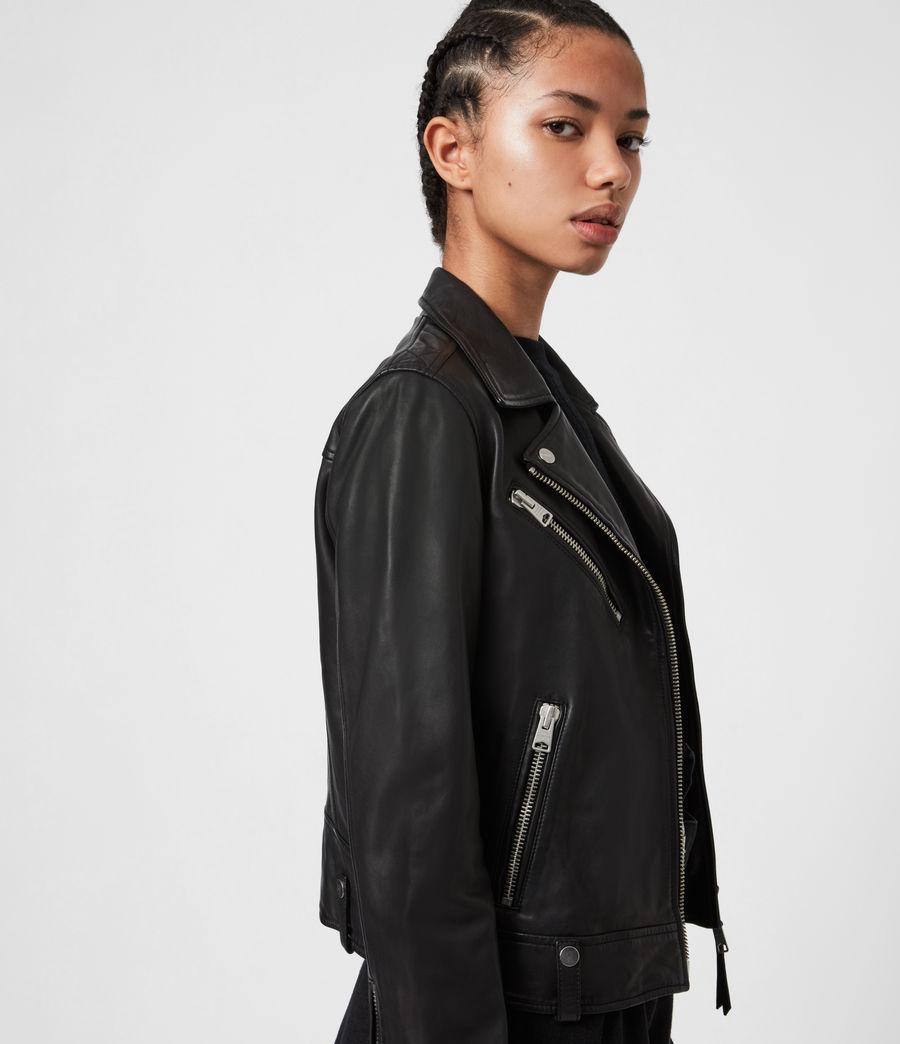 Women's Drury Leather Biker Jacket (black) - Image 4