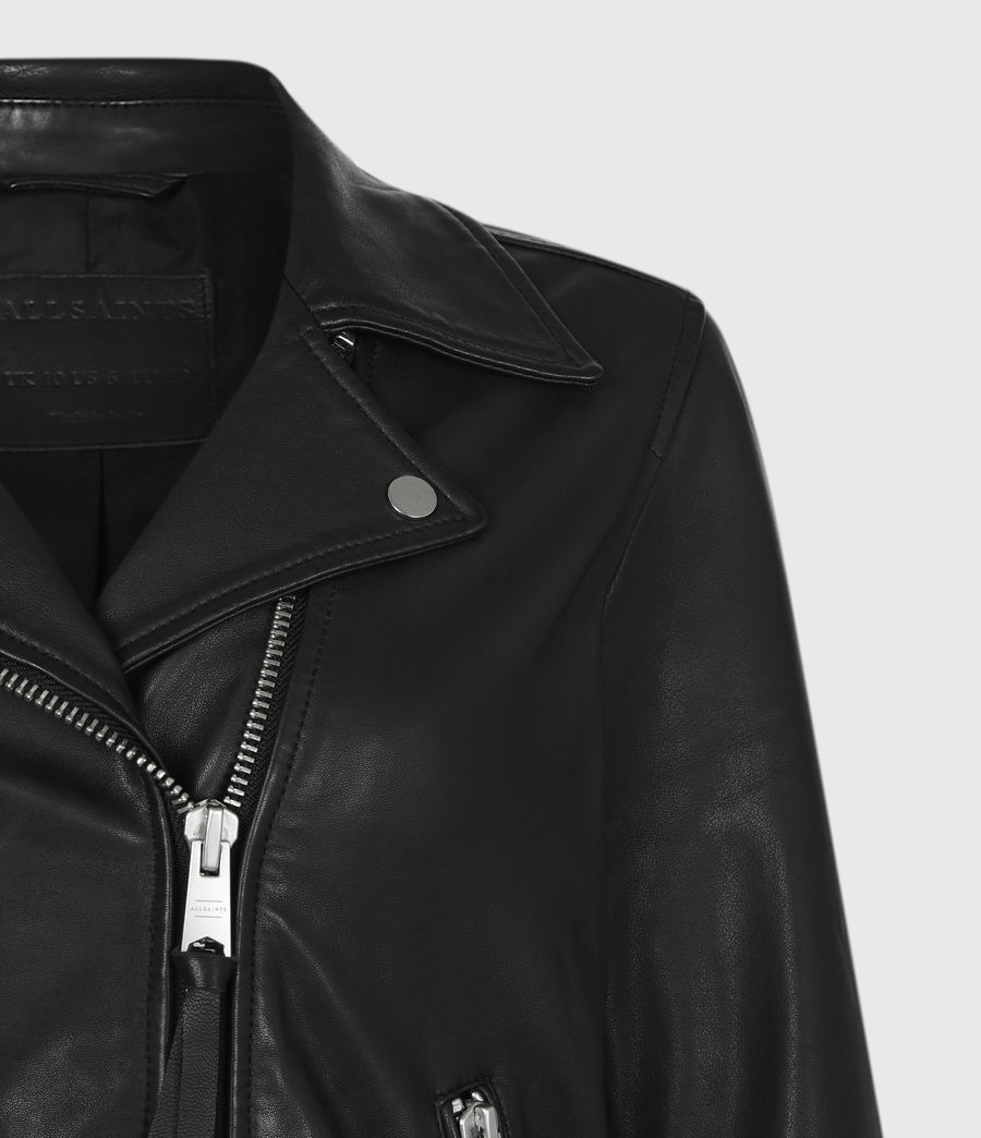 Women's Drury Leather Biker Jacket (black) - Image 5