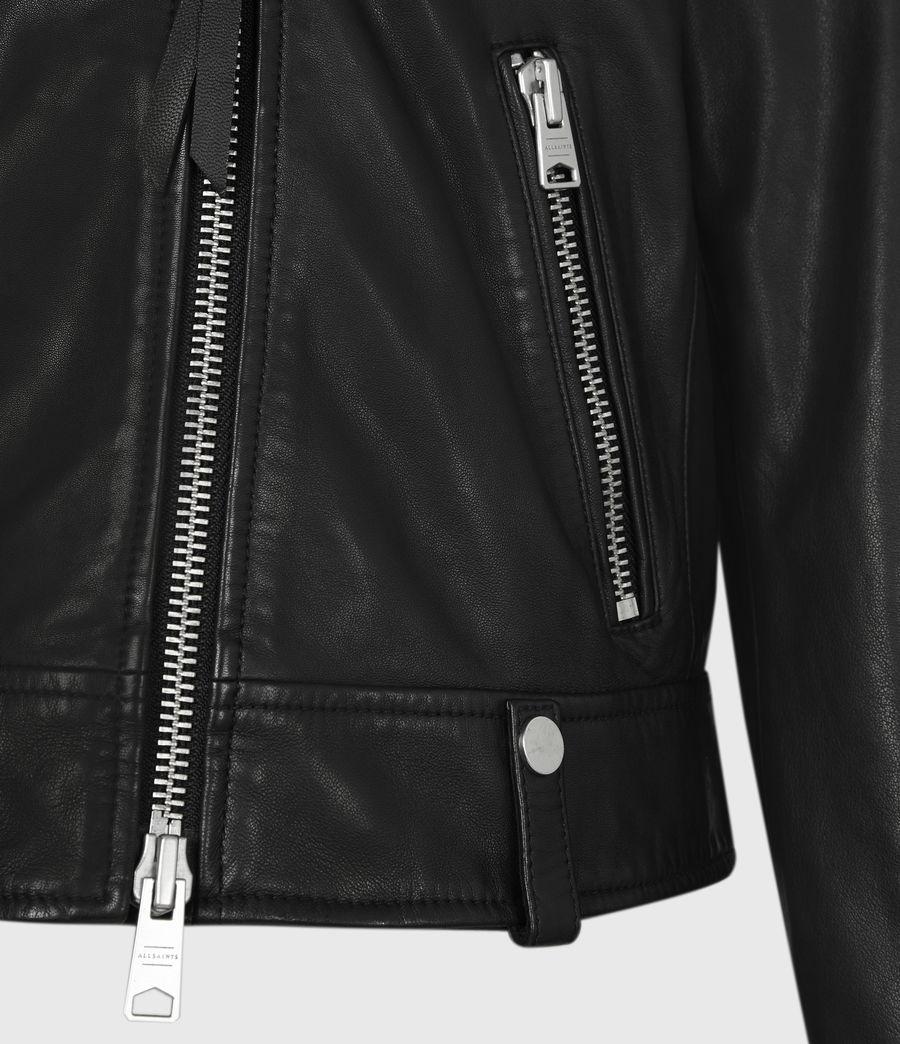 Women's Drury Leather Biker Jacket (black) - Image 6