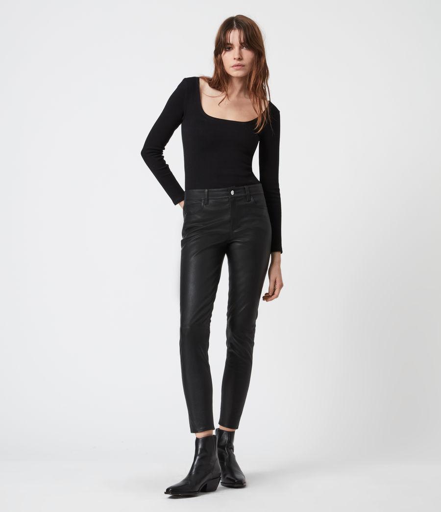 Femmes Pantalon en Cuir à Taille Mi-Haute Ina (black) - Image 1