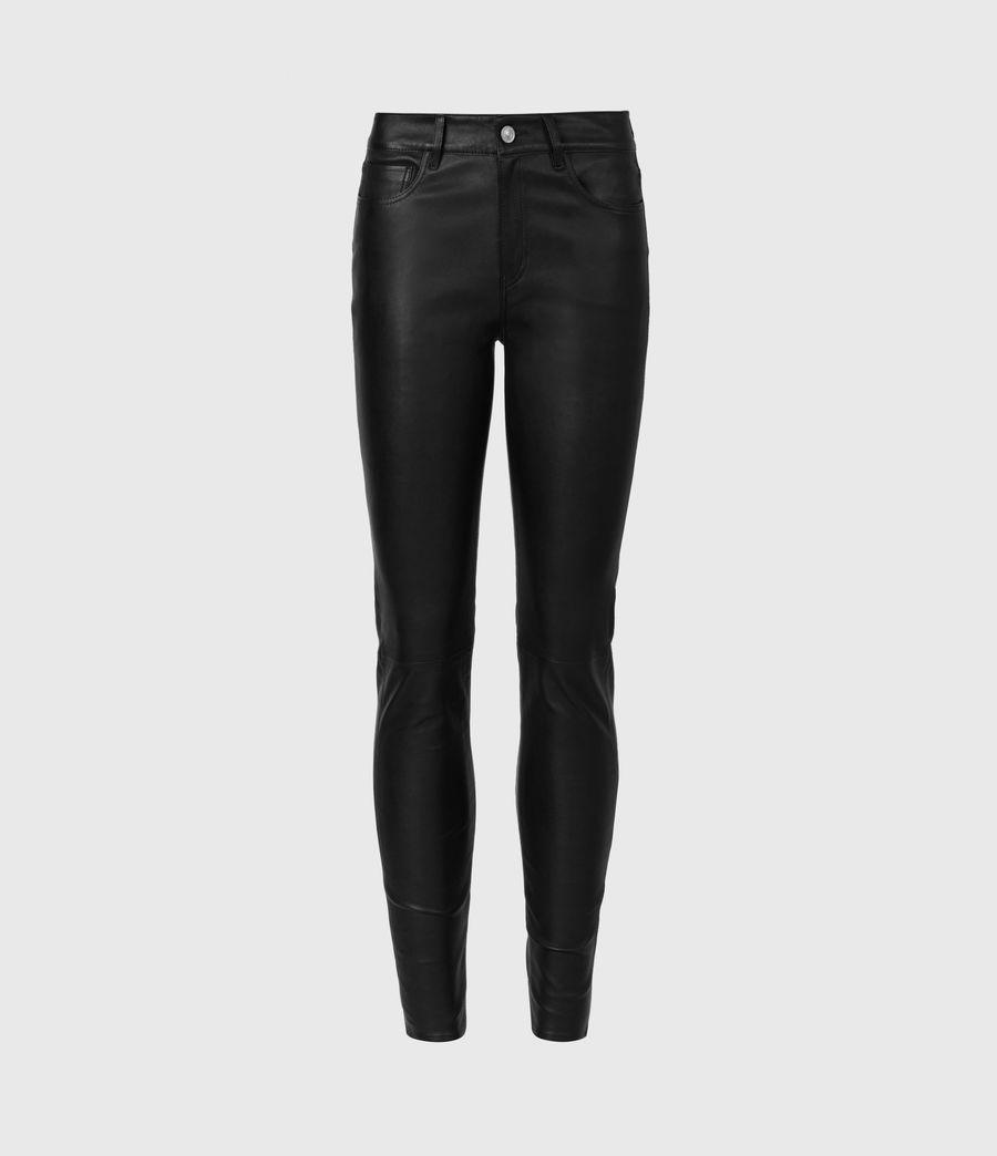 Femmes Pantalon en Cuir à Taille Mi-Haute Ina (black) - Image 2
