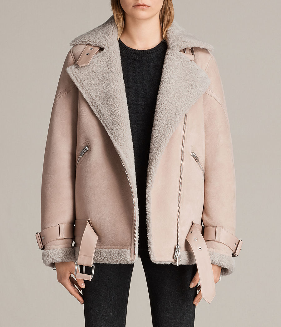 Womens Hawley Oversized Shearling Biker Jacket (pale_pink) - Image 1