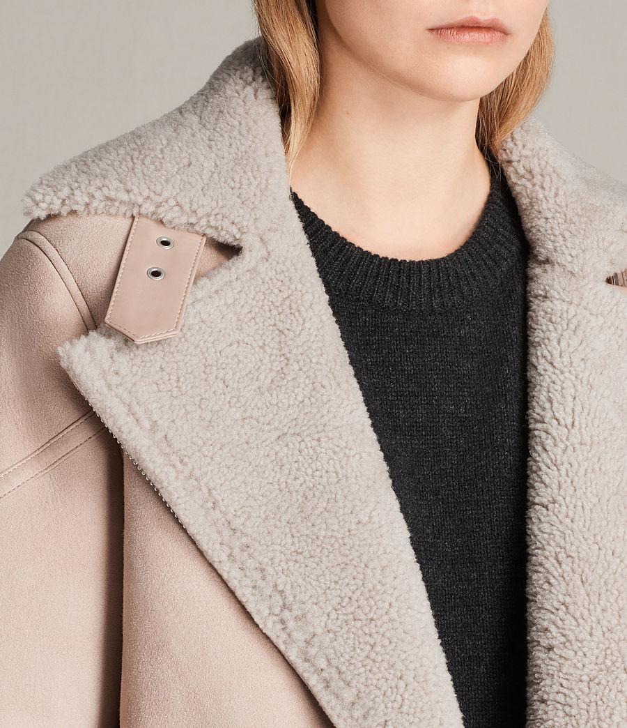 Womens Hawley Oversized Shearling Biker Jacket (pale_pink) - Image 2