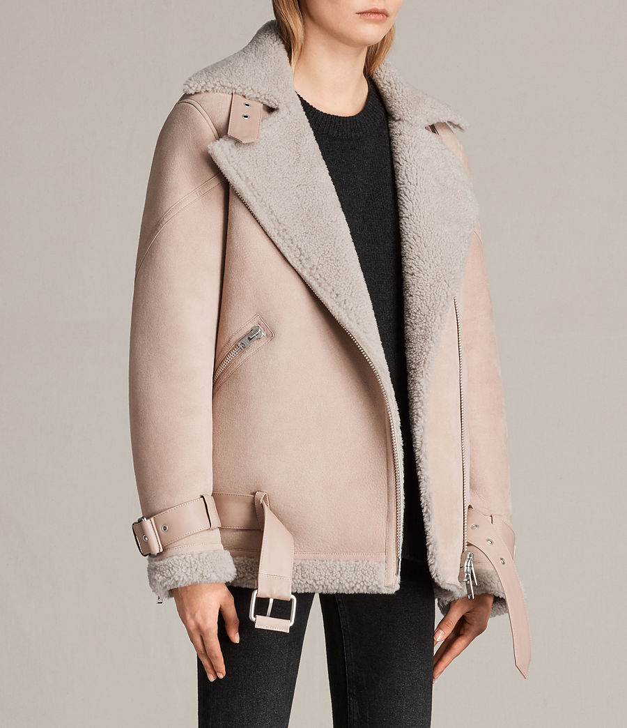 Womens Hawley Oversized Shearling Biker Jacket (pale_pink) - Image 3