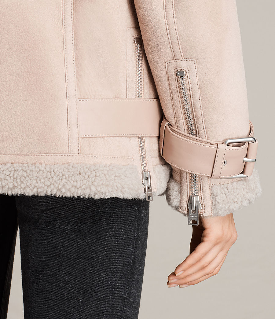 Womens Hawley Oversized Shearling Biker Jacket (pale_pink) - Image 4