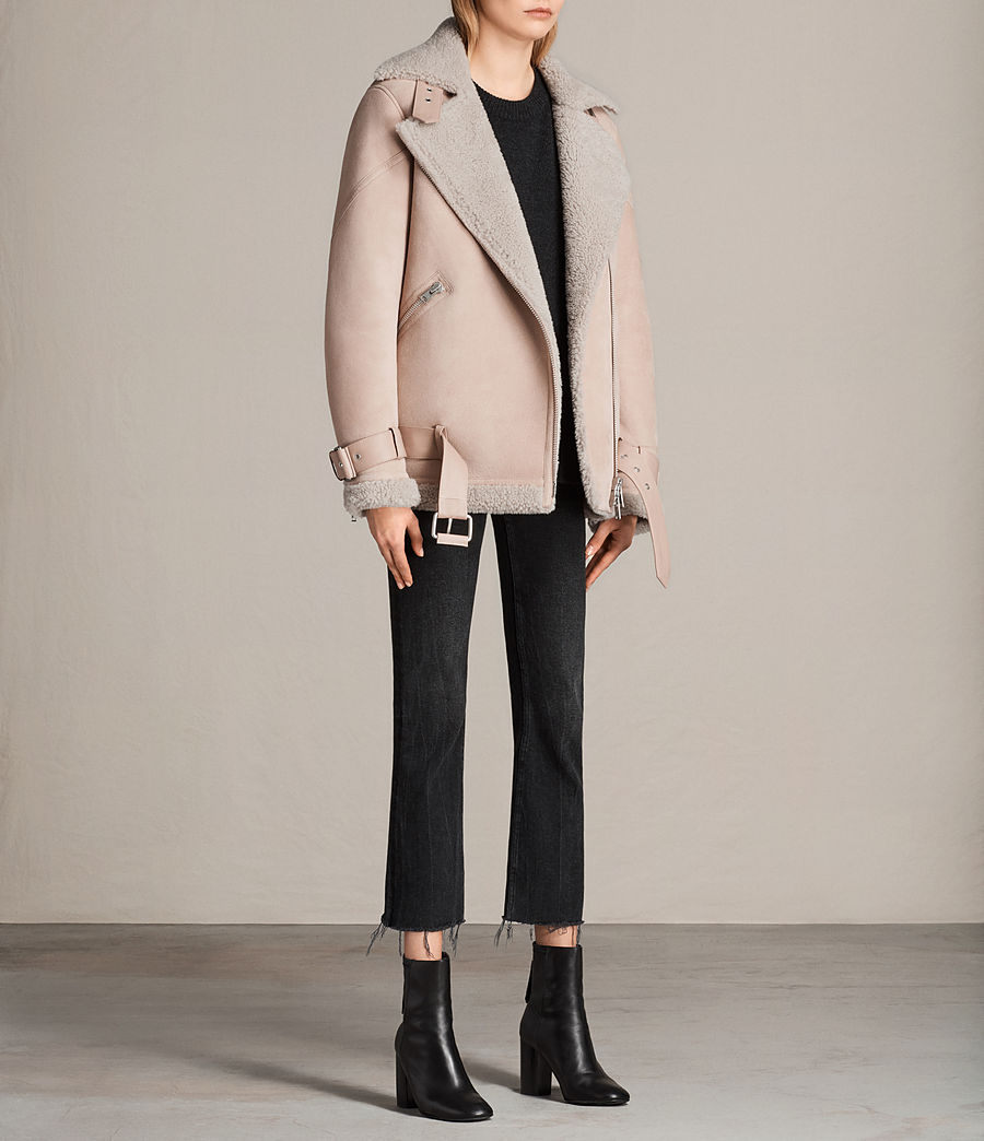 Womens Hawley Oversized Shearling Biker Jacket (pale_pink) - Image 5