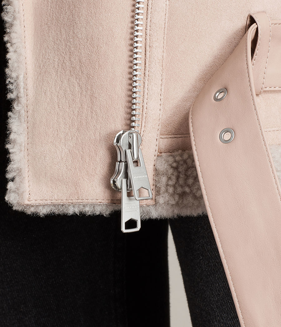 Womens Hawley Oversized Shearling Biker Jacket (pale_pink) - Image 6