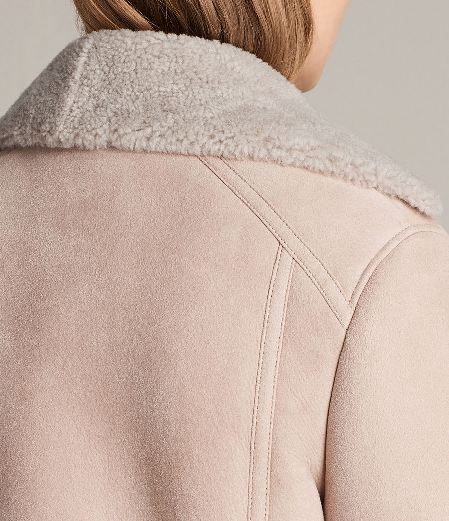 Womens Hawley Oversized Shearling Biker Jacket (pale_pink) - Image 7