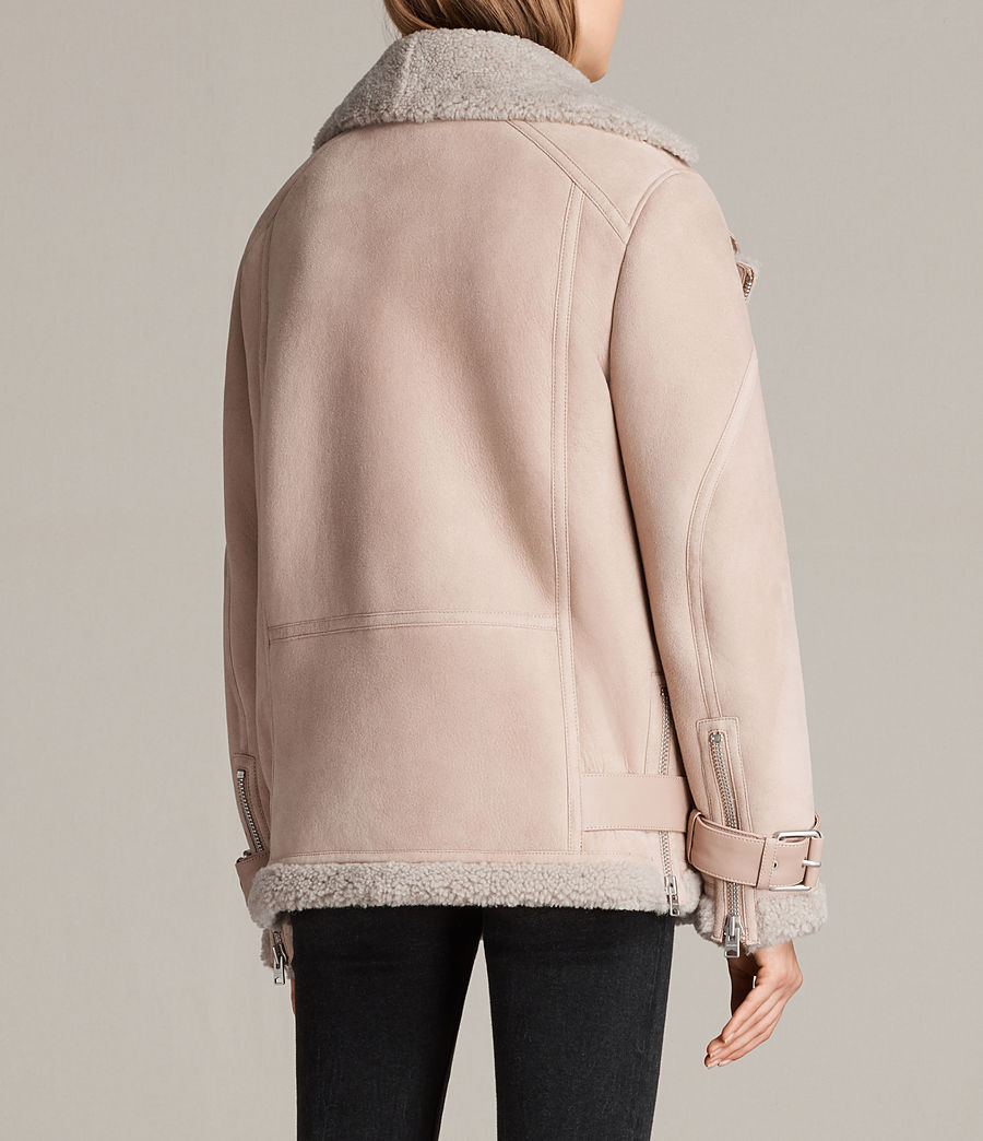 Womens Hawley Oversized Shearling Biker Jacket (pale_pink) - Image 9