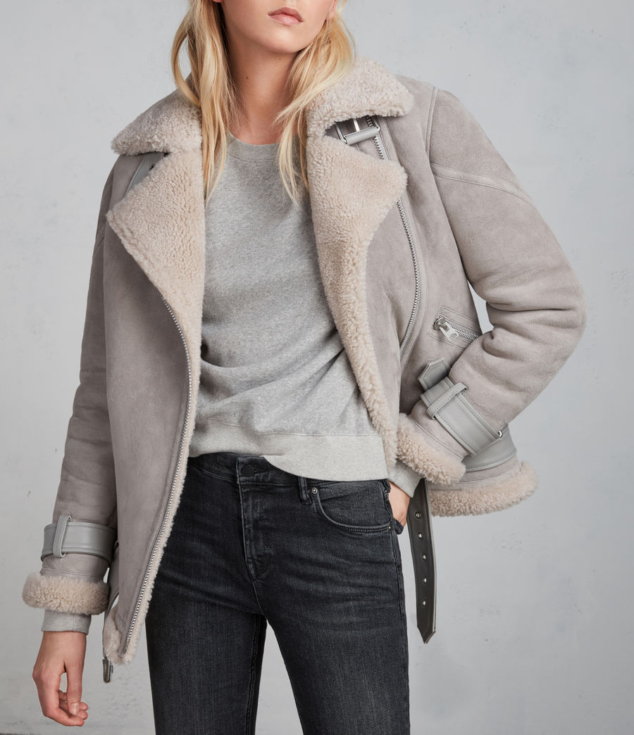 Women's Hawley Oversized Shearling Biker Jacket (pebble_grey) - Image 1