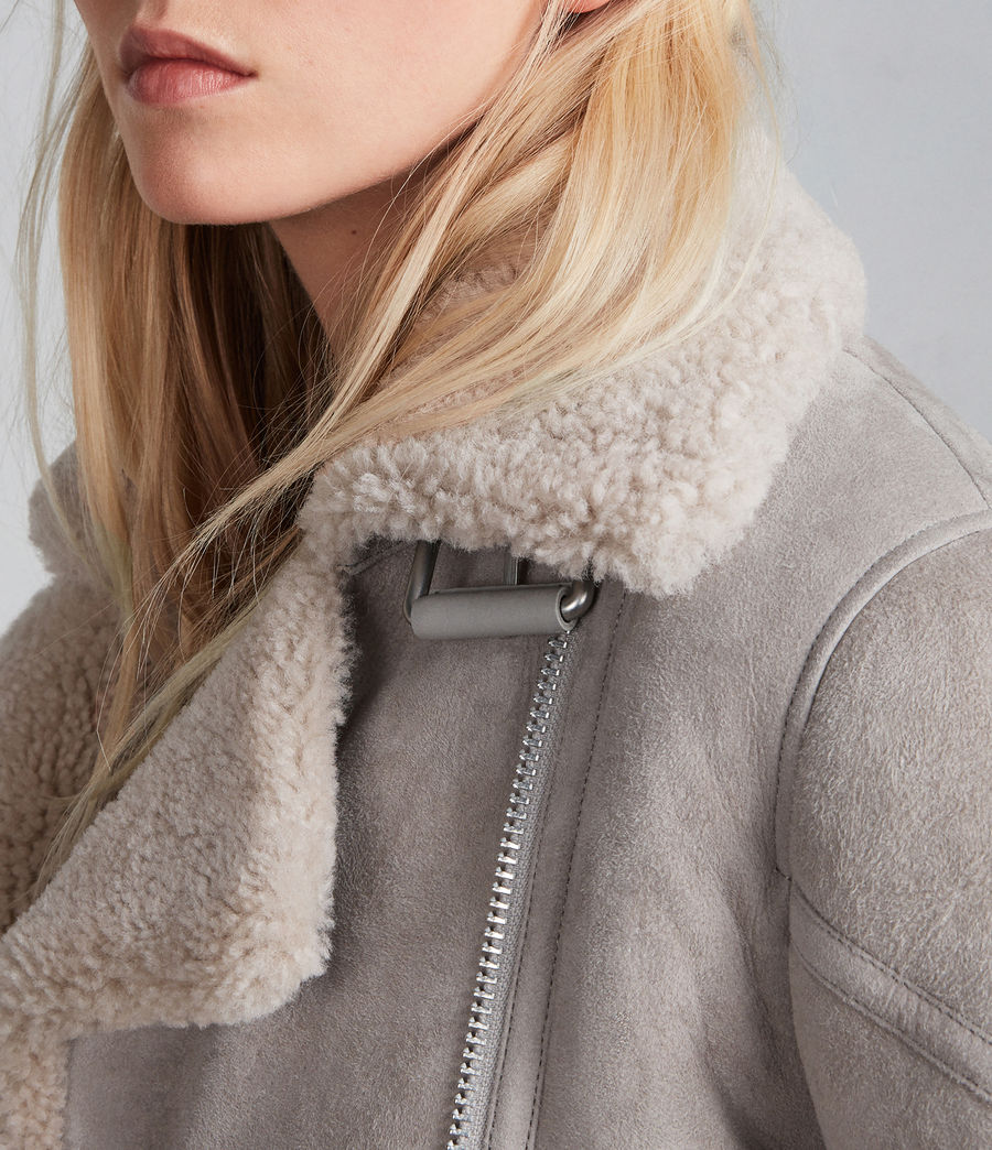 Women's Hawley Oversized Shearling Biker Jacket (pebble_grey) - Image 2