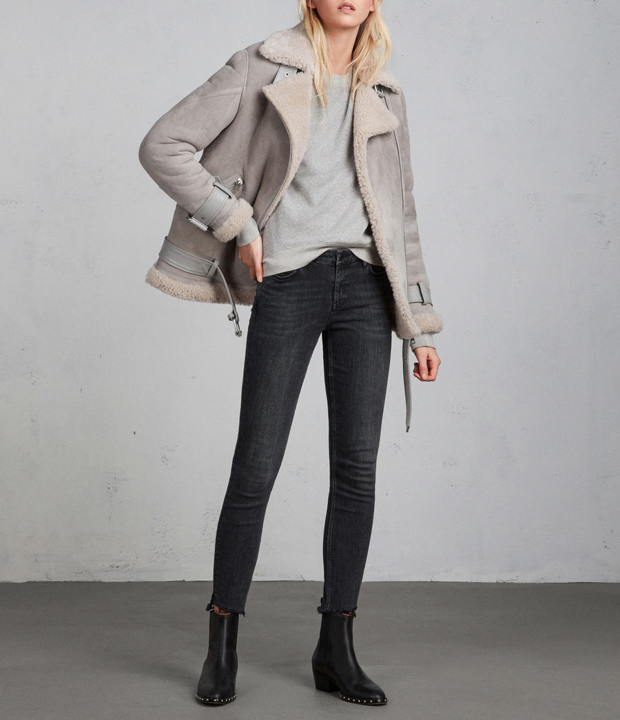Women's Hawley Oversized Shearling Biker Jacket (pebble_grey) - Image 3