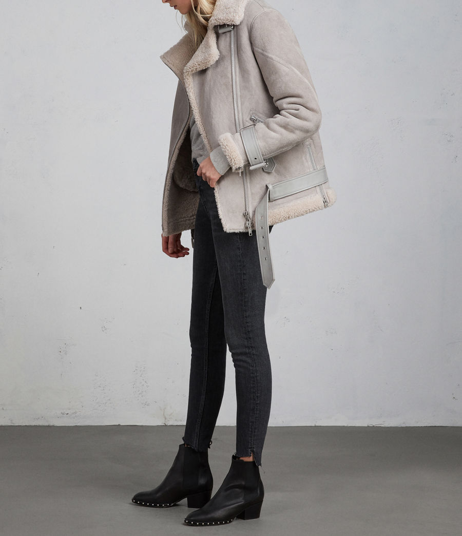 Women's Hawley Oversized Shearling Biker Jacket (pebble_grey) - Image 4