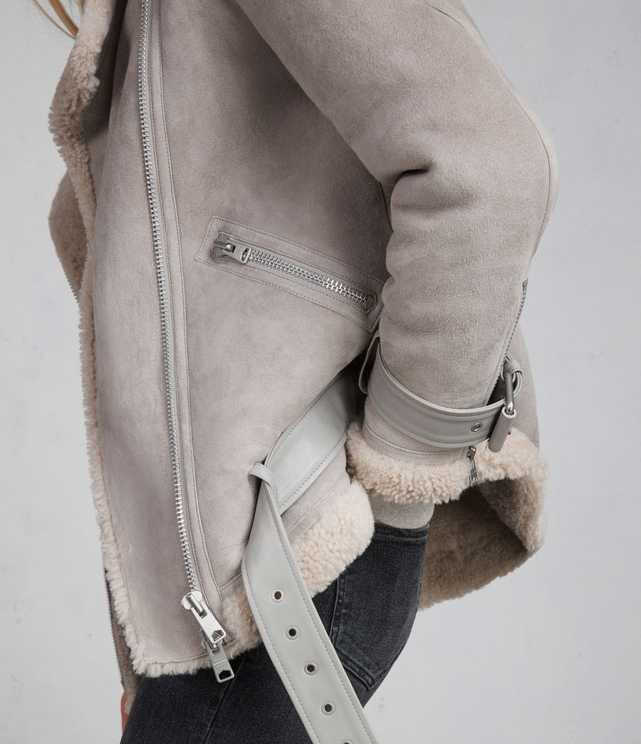 Women's Hawley Oversized Shearling Biker Jacket (pebble_grey) - Image 5