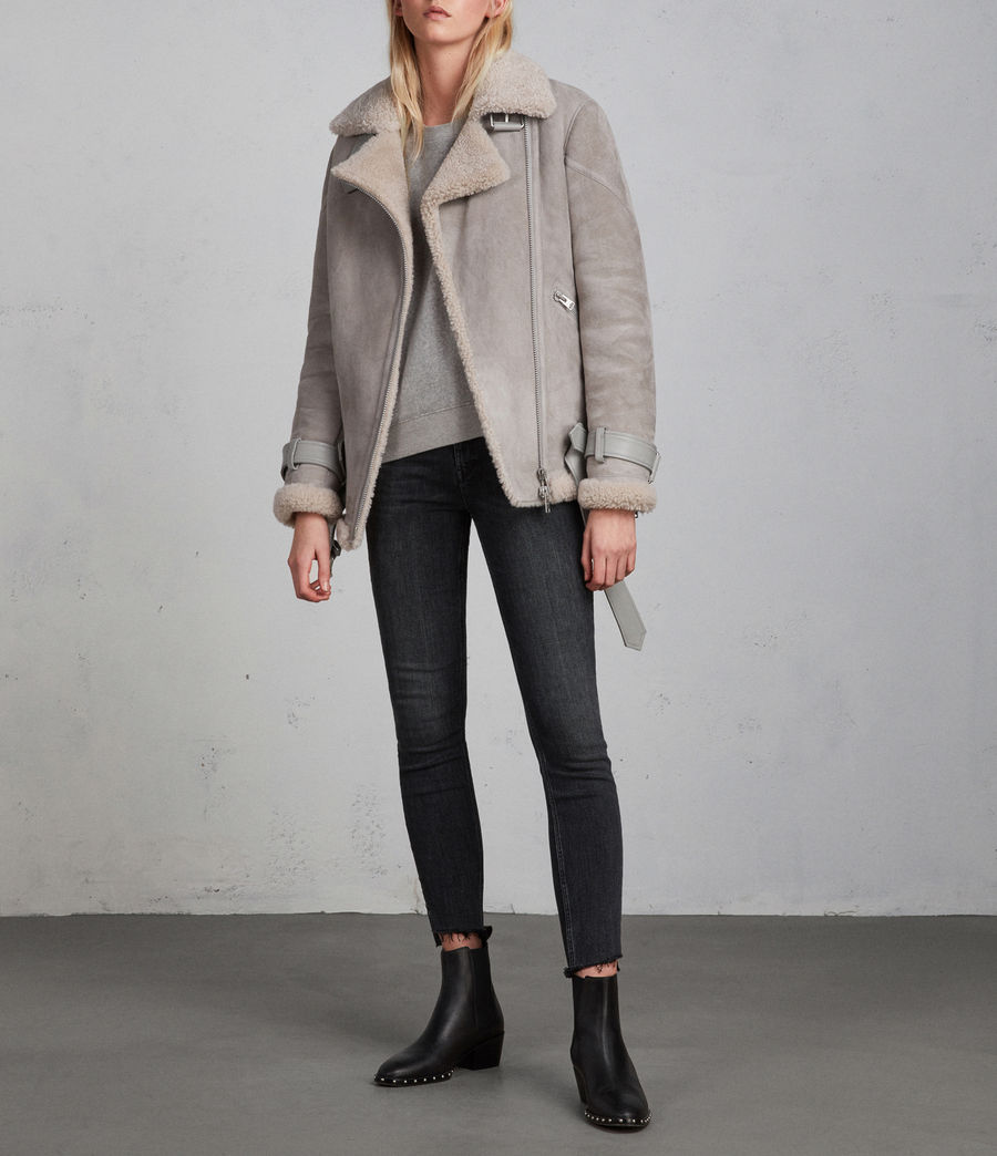Women's Hawley Oversized Shearling Biker Jacket (pebble_grey) - Image 6