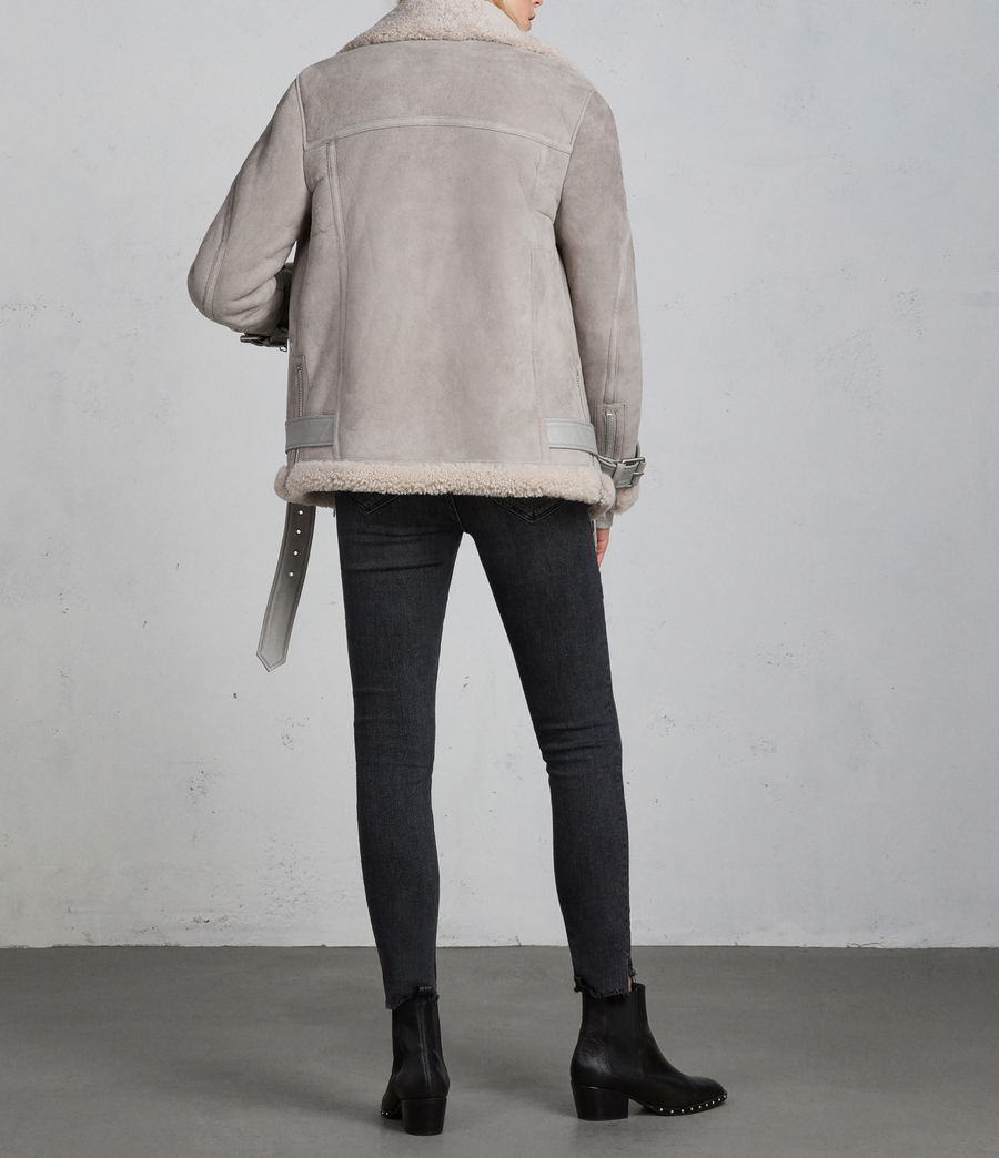 Women's Hawley Oversized Shearling Biker Jacket (pebble_grey) - Image 7