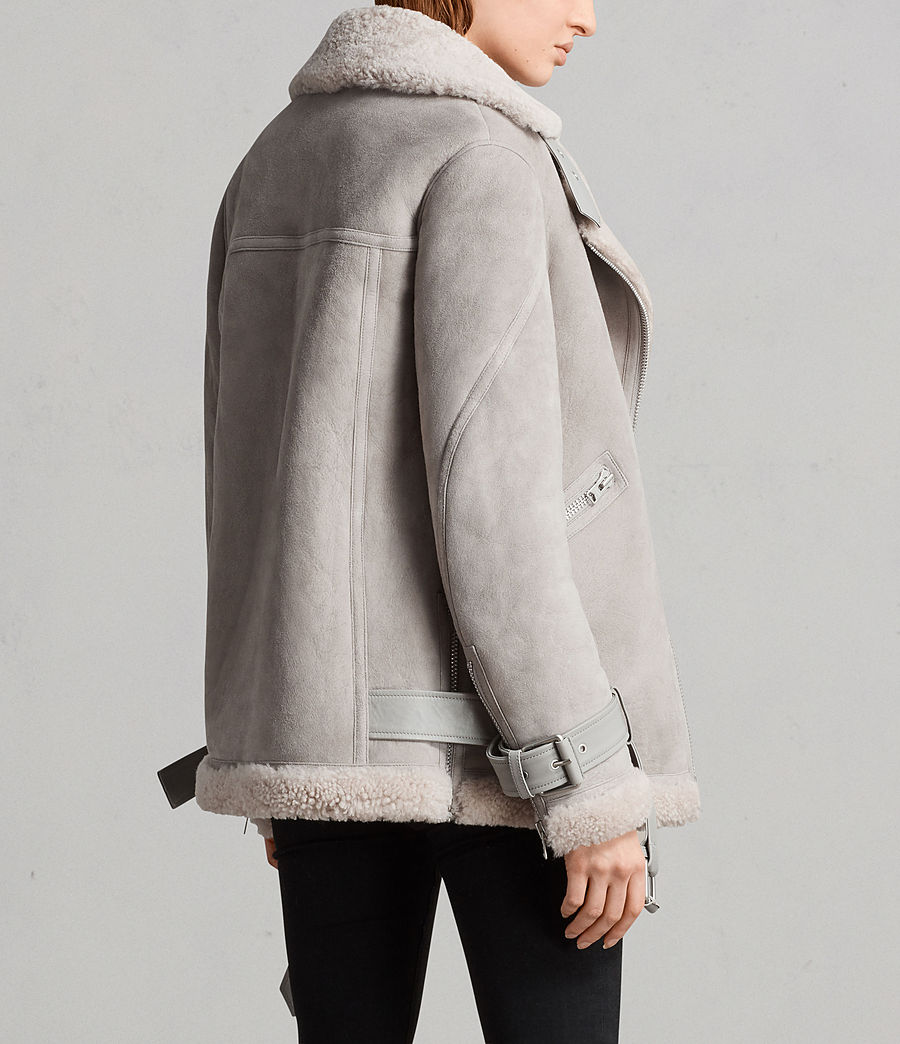 Women's Hawley Oversized Shearling Biker Jacket (pebble_grey) - Image 8