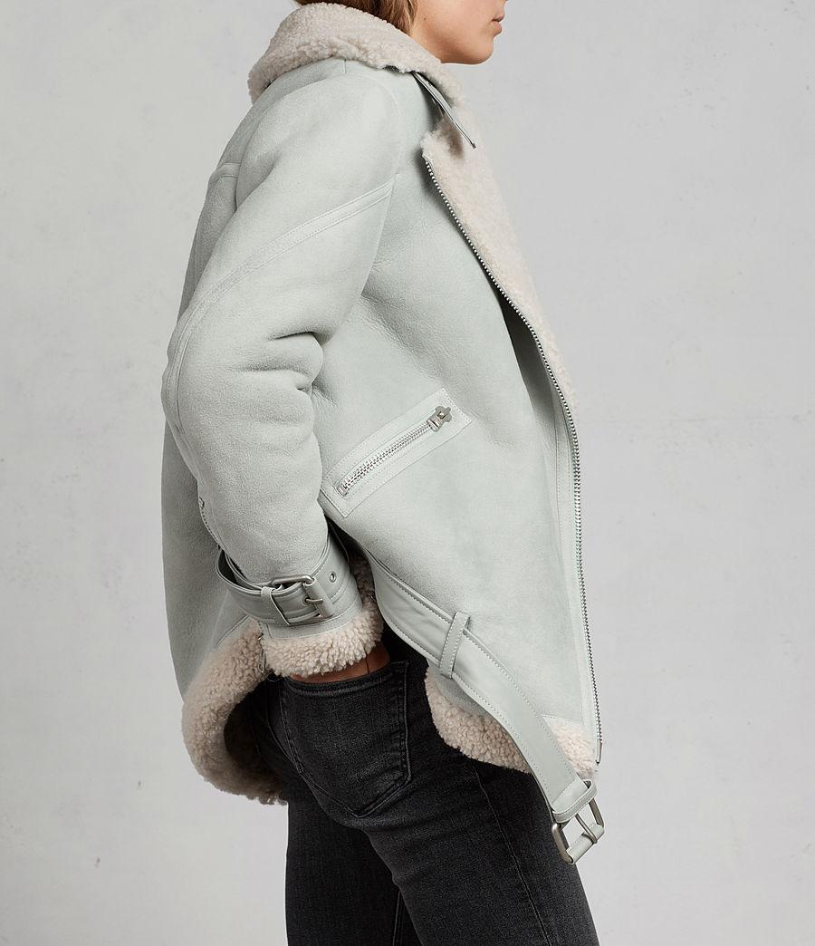 Women's Hawley Oversized Shearling Biker Jacket (mint_green) - Image 3