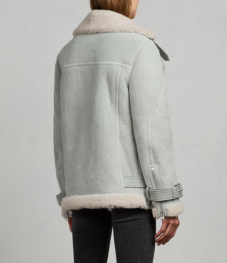 Women's Hawley Oversized Shearling Biker Jacket (mint_green) - Image 7