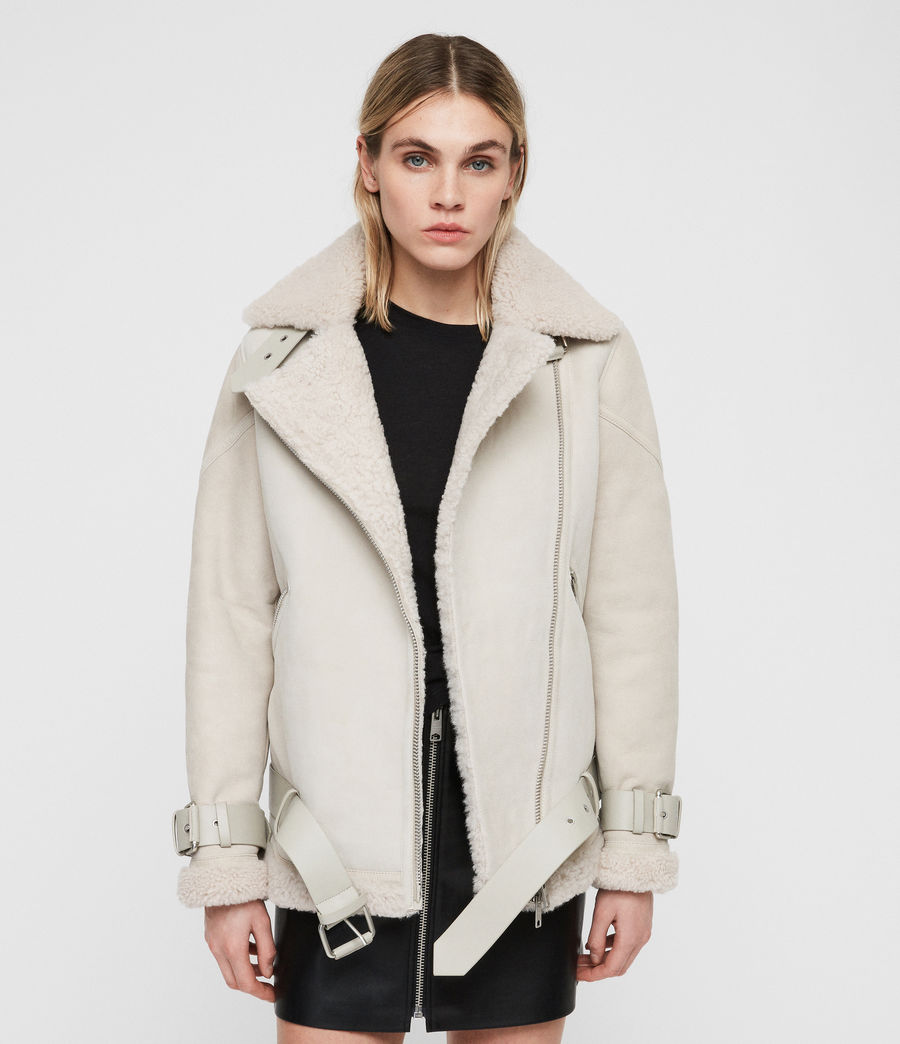 Women's Hawley Oversized Shearling Biker Jacket (aries_white) - Image 1