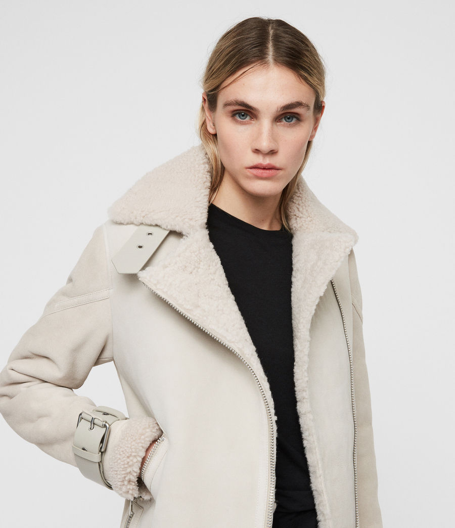 Women's Hawley Oversized Shearling Biker Jacket (aries_white) - Image 2