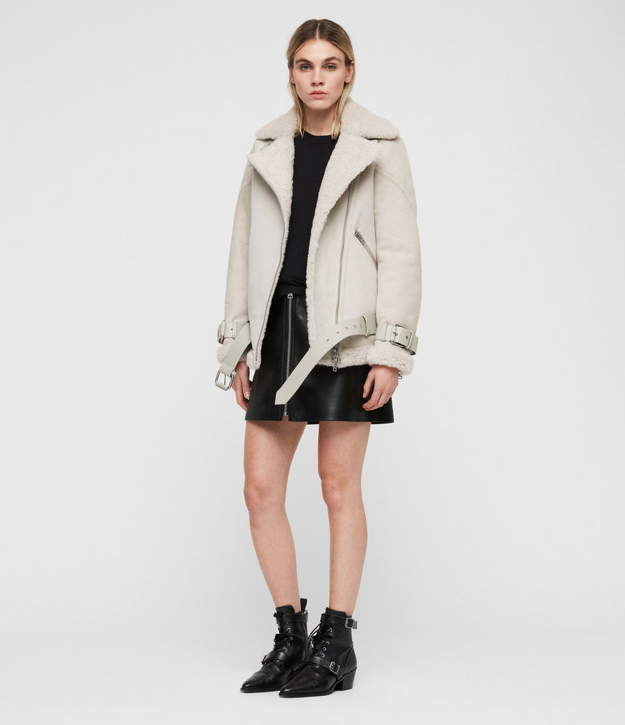 Women's Hawley Oversized Shearling Biker Jacket (aries_white) - Image 3