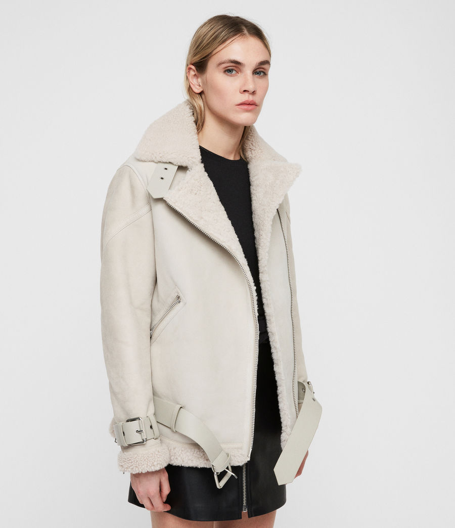 Women's Hawley Oversized Shearling Biker Jacket (aries_white) - Image 4