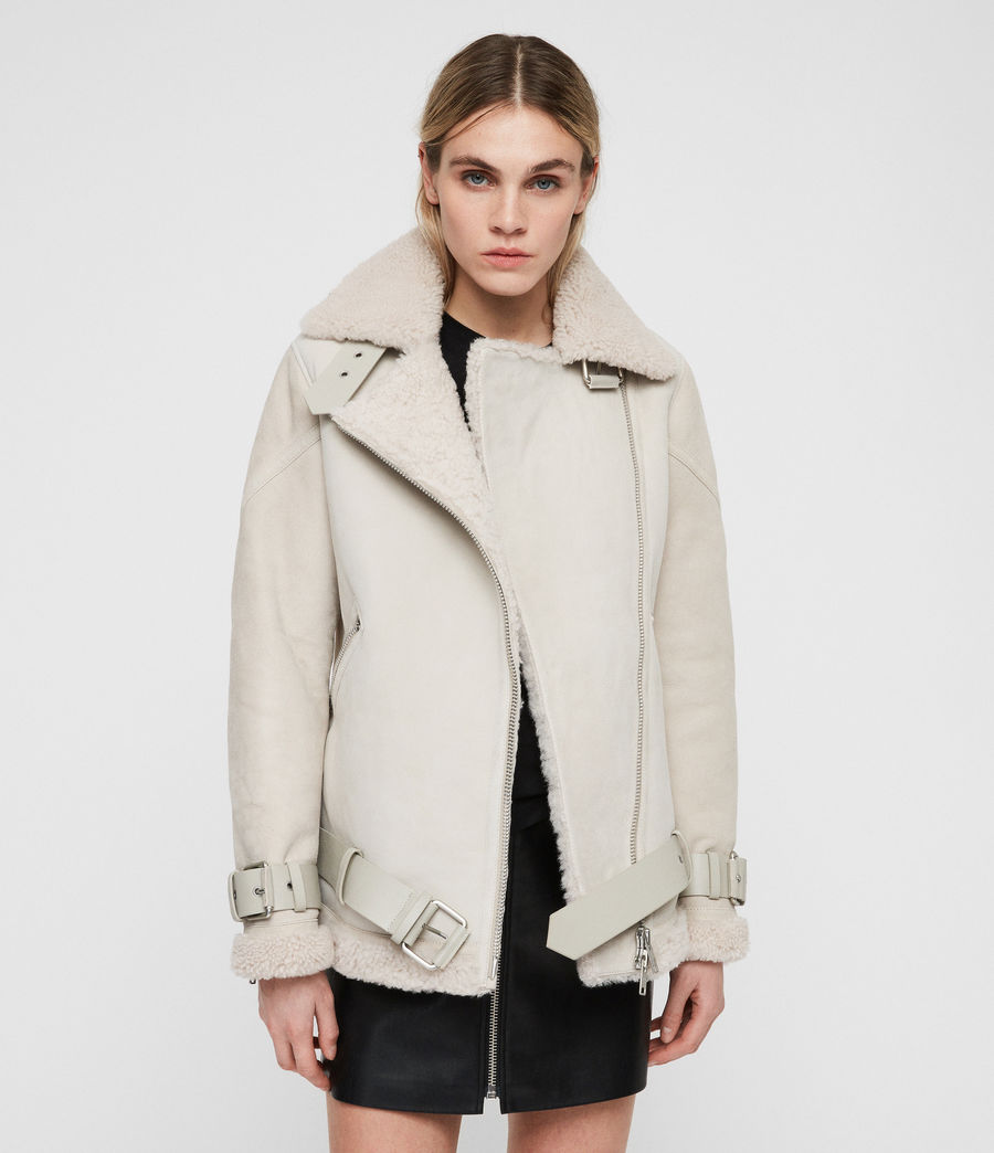 Women's Hawley Oversized Shearling Biker Jacket (aries_white) - Image 5